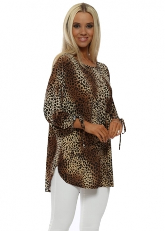 Mini Leopard Print Tie Cuff Tunic Top