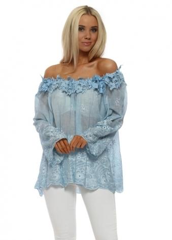 Blue Floral Applique Bardot Top