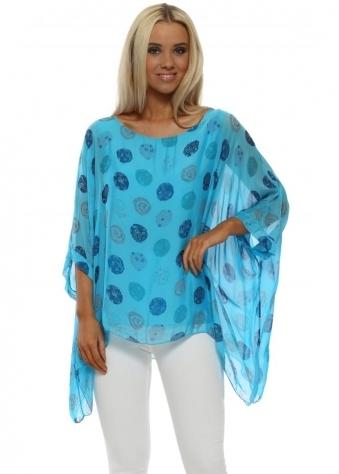 Turquoise Circle Print Silk Batwing Top