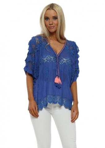 Cobalt Blue Crochet Silk Cold Shoulder Tassel Top
