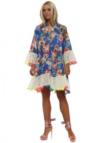Blue Floral Lace Neon Pom Pom Shirt Dress