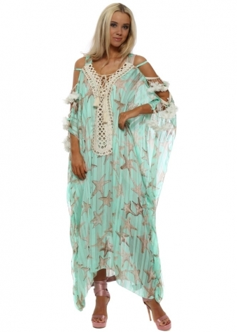 Aqua Starfish Ladder Sleeve Maxi Kaftan Dress