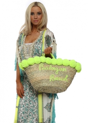 Lime Pom Pom Balagan Oversized Beach Basket