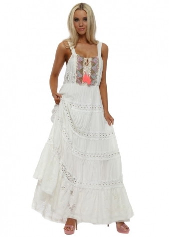 Misouni White Shell Boho Maxi Dress