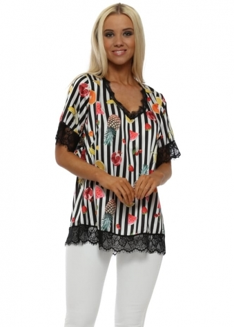 Black & White Stripes Tropical Fruit Print Top