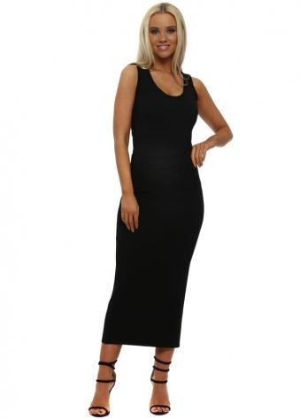 Black Jersey Column Midi Skirt