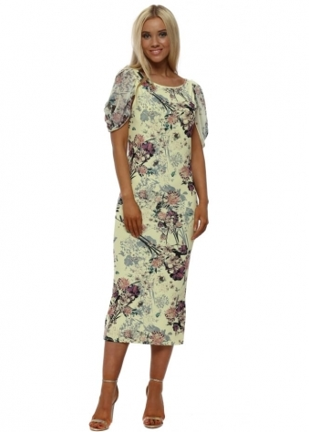 Fleur Lemon Floral Print Chiffon Sleeve Dress