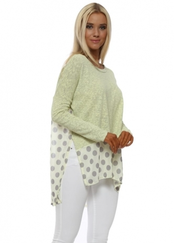 Selena Lemon Slub Knit Spotty Hem Top