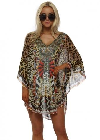Leopard & Tribal Print Crystal Stud Kaftan Top