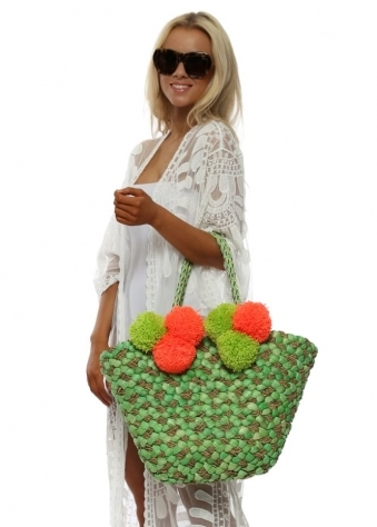 Green & Orange Pom Pom Basket Beach Bag