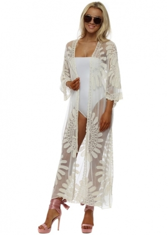 Cream Lace Embroidered Semi Sheer Long Kimono