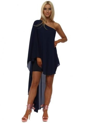Navy Asymmetric High Low Dress