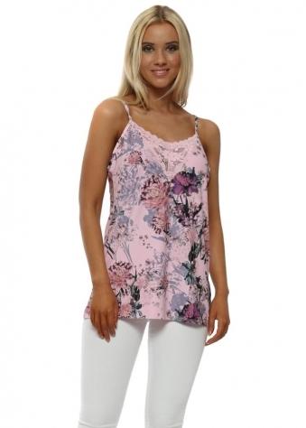 Flis Blush Pink Floral Lace Insert Vest