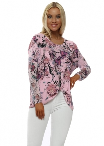 Frankie Blush Pink Floral Twist Knot Top