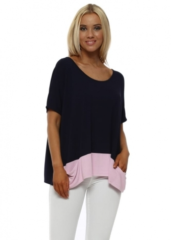 Navy & Blush Pink Contrast Sleeveless Pammy