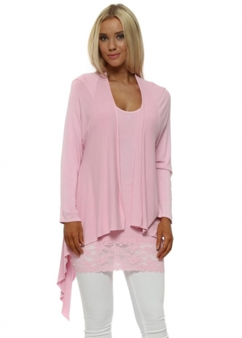 Fable Blush Pink Waterfall Cardigan