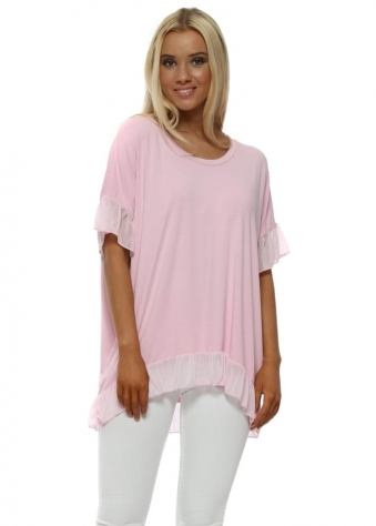 Flouncy Blush Pink Chiffon Ruffle Trim Short Sleeve Top