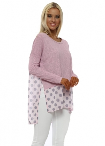 Selena Blush Pink Slub Knit Spotty Hem Top