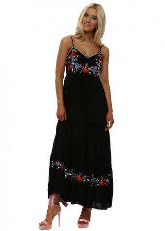 Black Floral Embroidered Boho Maxi Dress