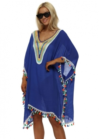 Cobalt Blue Multi Coloured Crochet & Tassels Kaftan