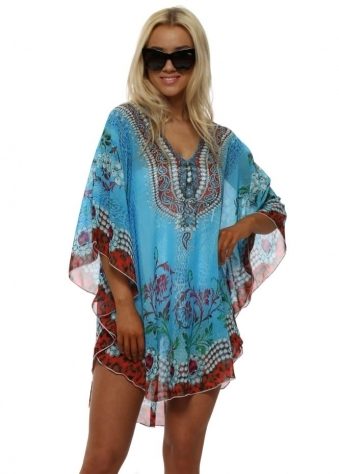Blue & Red Jewel Print Crystal Kaftan