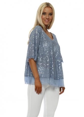 Blue Sequinned Frayed Silk Hem Top