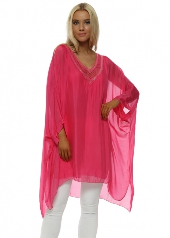 Hot Pink Sequin V Neck Silk Batwing Top