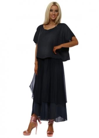 Navy Blue Silk & Linen Bib Midaxi Dress