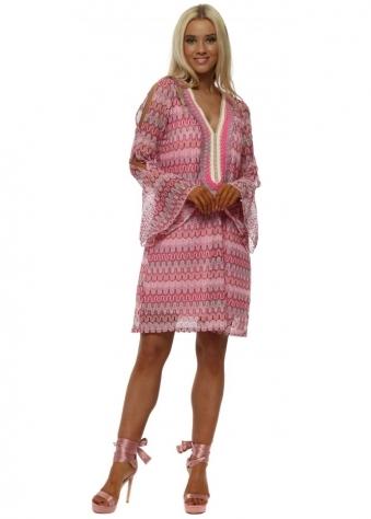 Pink Zig Zag Knit Tunic Dress