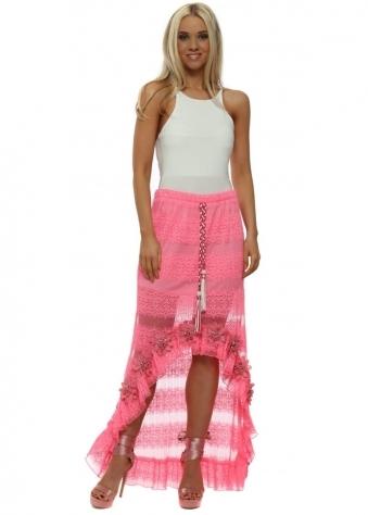 Hot Pink Floral Diamante Hi Lo Maxi Skirt