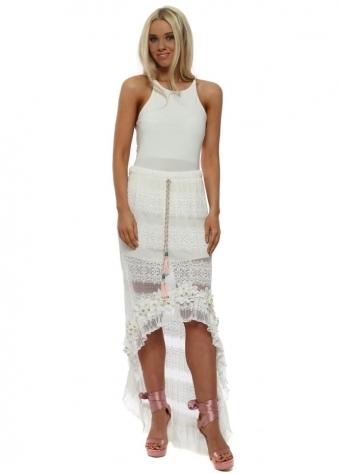 White Floral Diamante Hi Lo Maxi Skirt