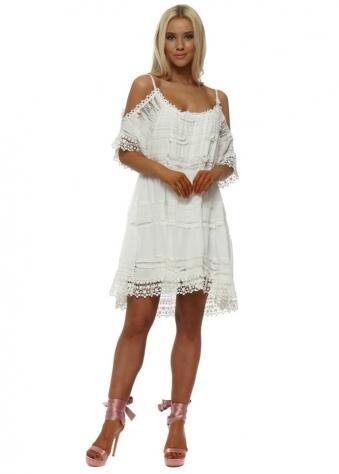 White Lace Cold Shoulder Summer Dress