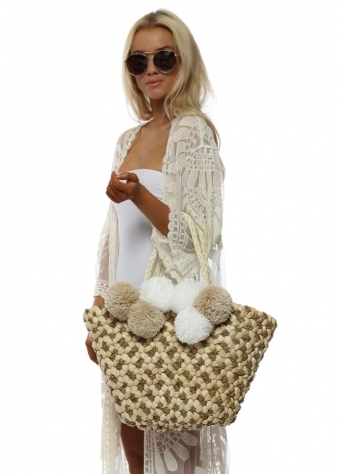 White & Beige Pom Pom Basket Beach Bag