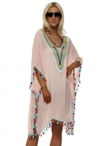 Pink Multi Coloured Crochet & Tassels Kaftan