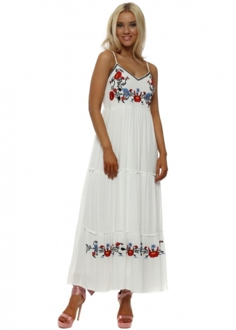 White Floral Embroidered Boho Maxi Dress