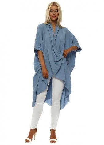 Denim Blue Cotton Crossover Draped Oversized Top