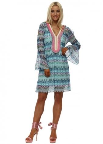 Blue Zig Zag Knit Tunic Dress
