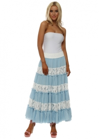 Blue & White Lace Maxi Skirt With Sequin Waistband