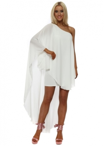 White Asymmetric High Low Dress