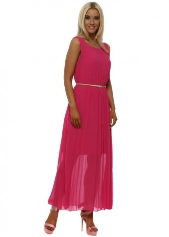 Fuchsia Pink Gold Belted Maxi Dress