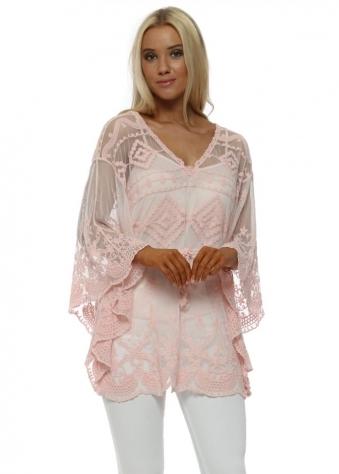 Pink Gypsy Lace Kaftan Top