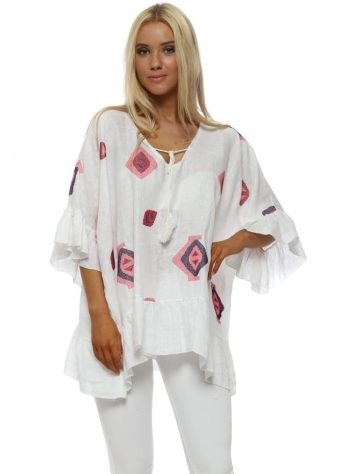White Linen Embroidered Frill Top