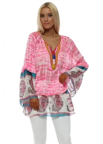 Pink Paisley Tie Dye Print Beaded Tunic Top