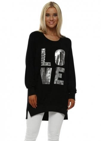 Black Metallic Foil Love Letters Long Sweater
