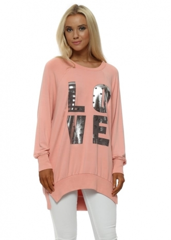Sorbet Metallic Foil Love Letters Long Sweater