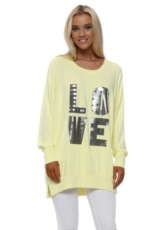 Lemon Metallic Foil Love Letters Long Sweater