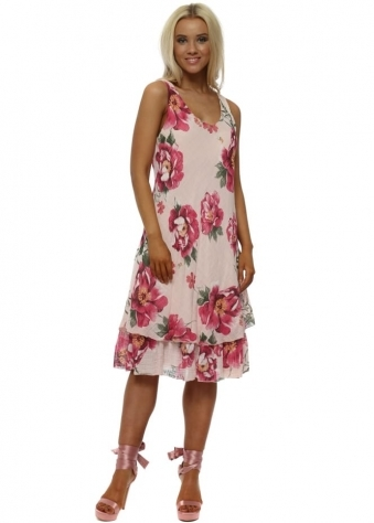 Pink Floral Cotton Swing Dress