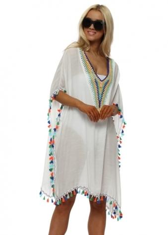 White Multi Coloured Crochet & Tassels Kaftan