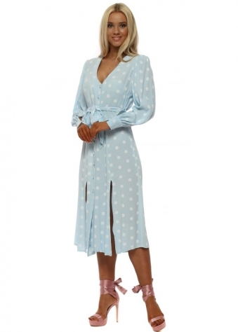 Baby Blue Polka Dot Summer Tea Dress