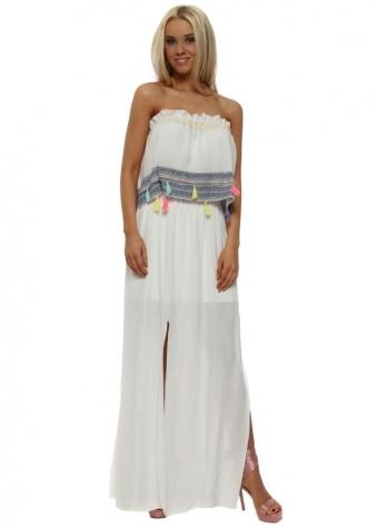 White Tassle Bandeau White Split Maxi Dress
